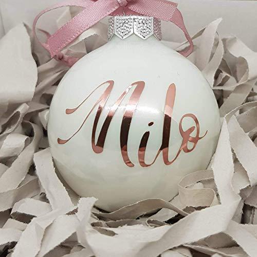 Weiße Weihnachtskugel aus Glas mit Namen in Roségold | Christbaumkugel | Weihnachtskugel Personalisiert | Weihnachtsgeschenk | Baumschmuck | 1. Weihnachten Baby | Sternenkinder