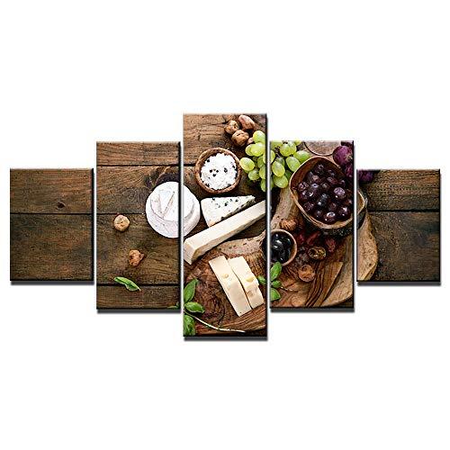5 Pintura En Lienzo Pintura Toile Murale Art Fromage Vin Photos Pour Salon 5 Pièces Noyer Peinture Hd Imprime Cuisine Affiches Décor À La Maison-Enmarcado