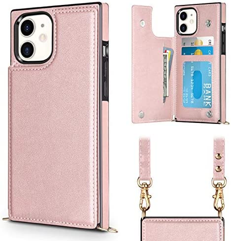 Vofolen Compatible with iPhone 11 Case Wallet Card Holder Lanyard Neck Crossbody Detachable product image