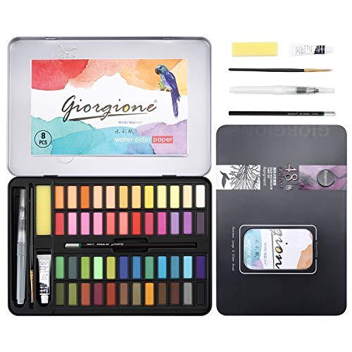 DazSpirit 48 Set Acquerelli Professionali con Tampone in Carta Colori ad Acqua Versatile, Vibrante e Portatile (48 Colori)
