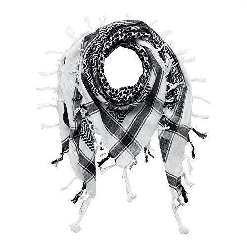 Superfreak Palituch - weiß - schwarz - 100x100 cm - Pali Palästinenser Arafat Tuch - 100% Baumwolle