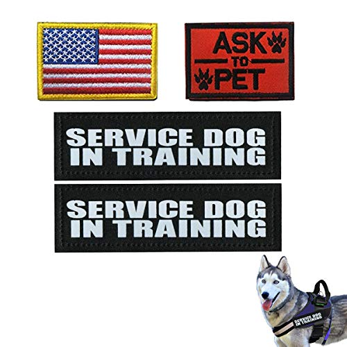 Homiego 4 Pack Service Dog in Training Patch American Flag Ask to Pet Military Morale Velcro Badge for Tactical Dog Harness Vest Saddlebag Backpack