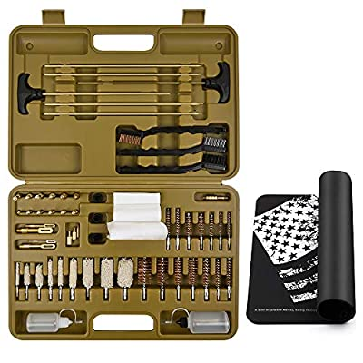 iunio Universal Gun Cleaning Kit with Mat Carrying Case for Rifle Pistol Handgun Shotgun Hunting Shooting All Caliber (All-in-One Upgrade)