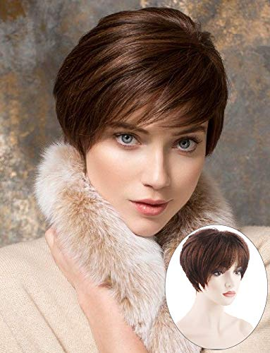 PHOCAS Short Pixie Cut Bob Wig With Bangs Straight Boy Cut Wigs Short Wigs For White Women(#33 Meduim Chestnut Brown)