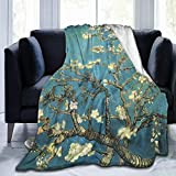 Tmvfpyr Flannel Fleece Blanket Vincent Van Gogh Blossoming Almond Tree Luxurious Throw Size Lightweight Fluffy Cozy Decorative Couch Bed Sofa Chair Ultra Fuzzy Soft Warm