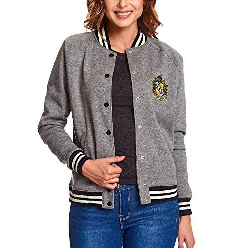 Giacca da College per Donna Harry Potter Cappotto delle Armi Tassorosso Elfico Grigio Foresta - S