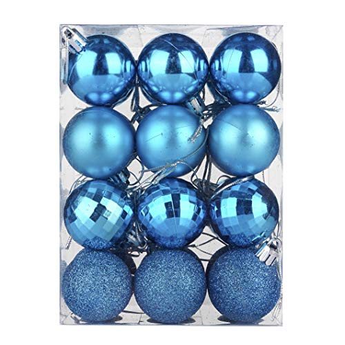 KOLACEN - Juego de bolas de adorno para árbol de Navidad, adornos de bolas colgantes de Navidad, decoración decorativa para el hogar, fiesta, decoración de bodas, 30 mm, 24 piezas / caja (azul)