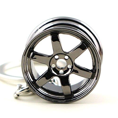 4 Heavy Duty Metal Keychain Set Rotor Keychain Gunmetal Wheel GT////Motorsports Lanyard Spinning Turbo