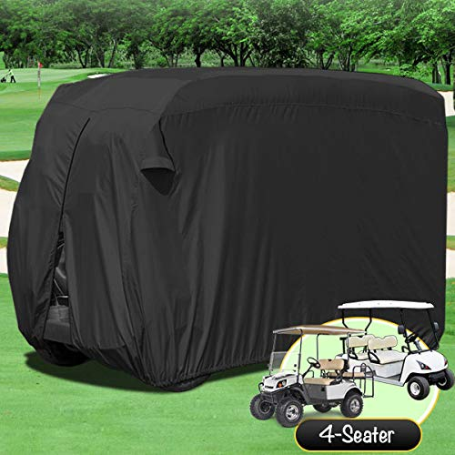 North East Harbor Waterproof Superior Black Golf Cart Cover Covers Compatible with Club Car, EZGO, Yamaha, Fits Most Four-Person Golf Carts