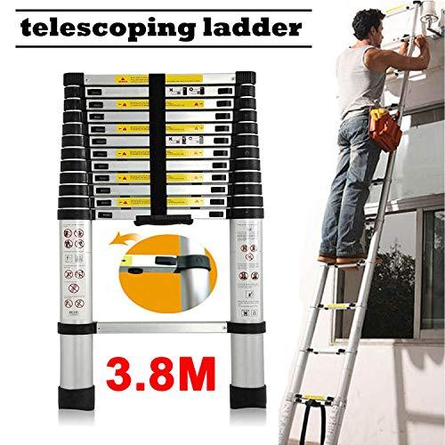 Draagbare opvouwbare 3-draads trapladder Heavy Duty Steel Safety Stappenladder met leuning Ondersteuning Niet Slip Mat Tread voor Keuken Thuis Tuinkantoor, 150kg Draagvermogen Telescopic ladder(3.8m)