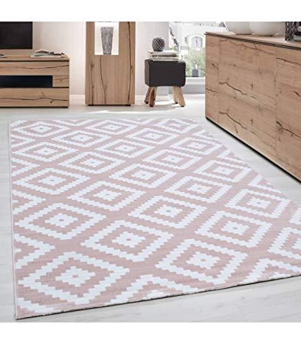 Carpettex Teppich Tapis de Salon Moderne Designe Elegance Courte Pile Rose Poudre Blanc - 160x230 cm