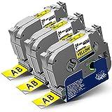3x Labelwell 24mm x 8m Sostituzione Nastro Compatibile per Brother Tz TZe-651 TZe651 TZ651 Nero su Giallo per Brother P-Touch PT-E500VP PT-P900W PT-P950NW PTD600 PT-D600VP PT-P750W PT-H500LI PT-2430PC