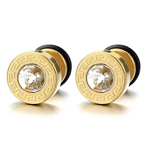 10MM Modelo Dominante Griego Oro Pendientes de Hombre, Aretes, Acero Inoxidable, con 4MM Circonita, 2 piezas