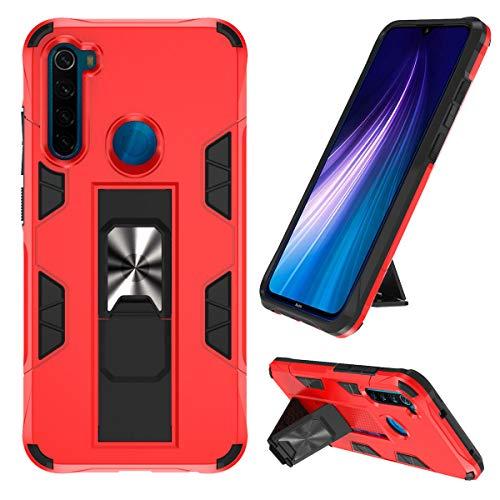 KUAWEI Note 8 Hülle Redmi Note 8 Handyhülle Case Cover Doppelte Schutzschicht Handyhülle mit Ständer Funktion und Auto Halterung Funktion für Redmi Note 8 (Rot)