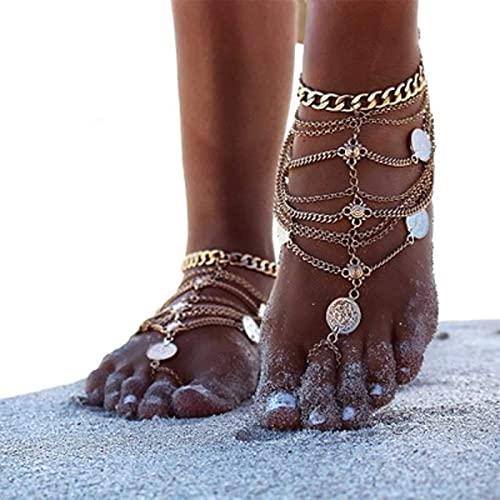 TseenYi Pulsera de tobillo bohemia de oro descalzo sandalias tobilleras, cadena de verano, boda, cadena de pie, joyería para mujeres y niñas, 2 piezas (dorado)