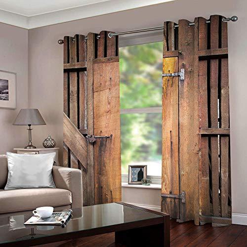 SFALHX Vorhang Schlafzimmer Vintage Tür Gardine Blickdicht Thermo Vorhang Kinderzimmer Gardinen Junge Mädchen Ösenvorhang 2 Stücke/B117 x H138cm