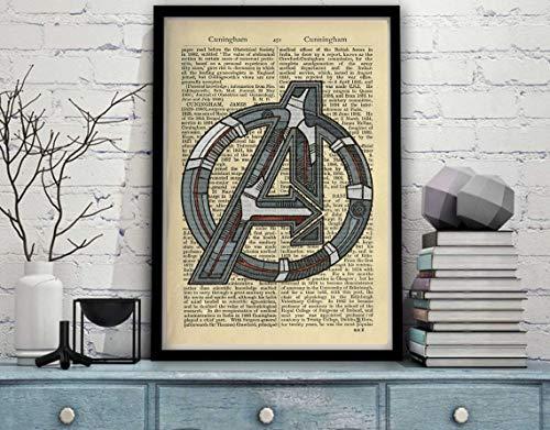 Avengers Age of Ultron Logo Iron Man Arc Reactor Dictionary book Design Poster Print Graphic Alternative Captain America Endgame Hawkeye (L - 24 x 32 inch (61 x 81 cm))