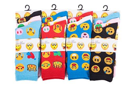 Louise23 Imtd 12prs Mujer Chica Divertido Dibujo Novedad Rostros Íconos Estampado Calcetines Emoticono Estilo Calcetines Divertido Rostros Calcetines