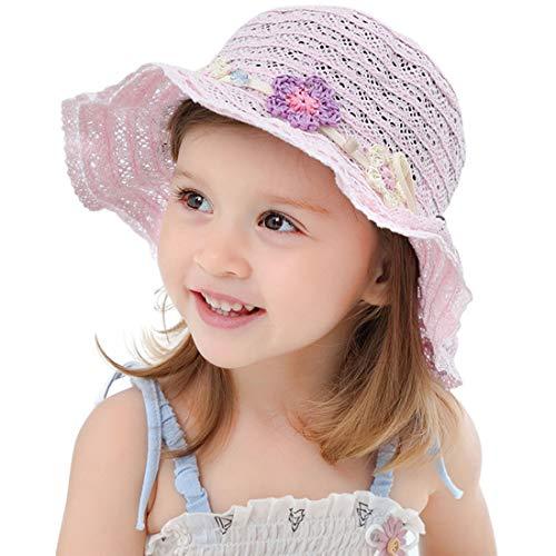 YONKINY Baby Kleinkind Mädchen Sonnenhut Sommer Strand Faltbar Strohhut Sommerhut UV Schutz UPF 50 + Visier Fischerhut mit Sonnen Shade (Pink, Größe 2XL für 4-8 Jahre)
