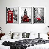Cabina de teléfono de Londres Paraguas de autobús Impresiones en lienzo Blanco y negro y rojo Imágenes de la ciudad de Londres Arte de pared para el hogar Decoración moderna Decoración de sala