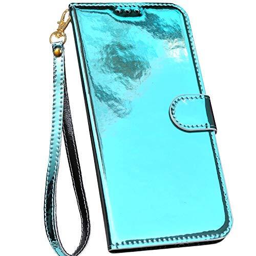 Ysimee Bunt Hülle kompatibel mit Samsung Galaxy S9 Plus Handyhülle - Spiegel Design Handy Tache [PU Leder] [3-Kartenfächer] Flip Case Cover Schale Etui Schutzhülle Lederhülle Magnet Klapphülle, Blau