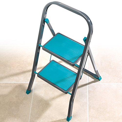 Beldray LA023957TQ Fold Away Compact Two-Step Ladder, Turquoise