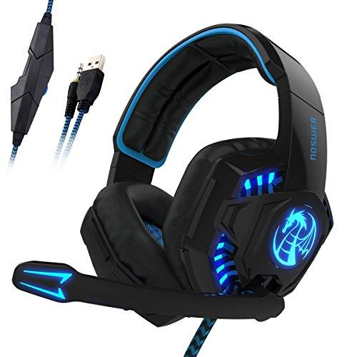 NOSWER 3,5mm estéreo auriculares Gaming con cable, iluminación LED auriculares de diadema auricular con micrófono para PC Ordenador Portátil