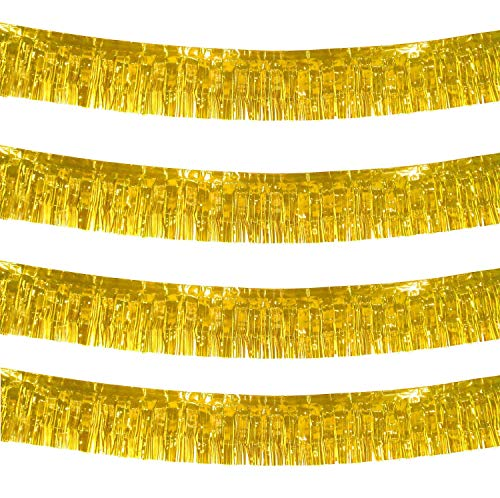 10 Feet Long Roll Gold Foil Fringe Garland - Pack of 4 | Shiny Metallic Tassle Banner | Ideal for Parade Floats, Bridal Shower, Bachelorette, Wedding, Birthday | Wall Hanging Fringe Garland Banner
