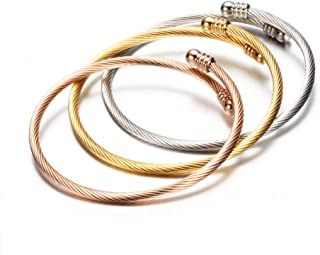 GEMBLC Stainless Steel Bangle Bracelets for Women DIY Charm Wristband Screw with Removable End Plug Twisted Opened Cuff