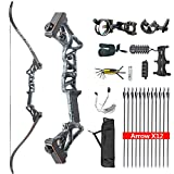 HYF Takedown Recurve Bow Package R3,Ready to Shoot Archery Set for Adults,Bow and Arrow Set (Black camo, 50lbs)