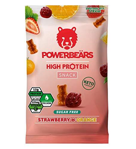 Powerbeärs High Protein Sugarfree Erdbeere & Orange - Proteinreiche Gummibärchen ohne Zucker - 16er Pack (16 x 50g Beutel)