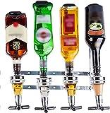 Dispensador de licor – Dispensador de licor montado en la pared – Dispensador de licor de 4 botellas – Estación dispensadora profesional de alcohol – Soporte portátil para bebidas y vinos de cóctel