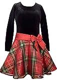 Stretch velvet top with taffeta plaid skirt Sparkly sash with bow Crinoline underskirt