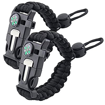 Moreteam Paracord Buckles Bracelet Fire Starter Compass with Emergency Whistle Outdoor Survival Kit