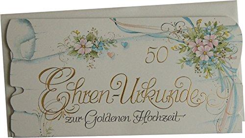 Ehren-Urkunde Glückwunschkarte 50 zur Goldenen Hochzeit 72-1096