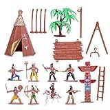 Gadpiparty 1 Juego de Figuras de Indios Juguetes de Plástico Juego de Figuras Nativas Americanas Sandbox Terrarios de Acuario Decoración de Pastel en Miniatura Juguetes de Bricolaje