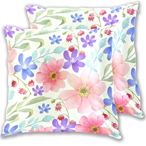N / A Colorful Painted Pink Flowers Pillowcase Decor Living Room Square Throw Pillow Cushion Cover Case Protectors Standard Size for Decorative Sofa Home(2 Pack)