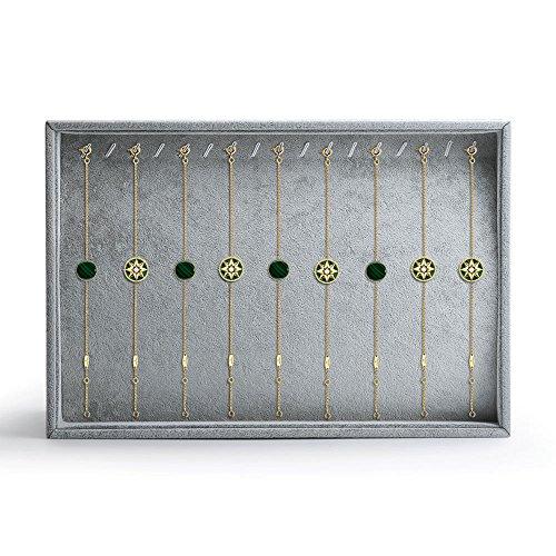 Oirlv Velvet Stackable Jewelry Display Trays Showcase Jewelry Organizer Storage Trays(Necklace Display)