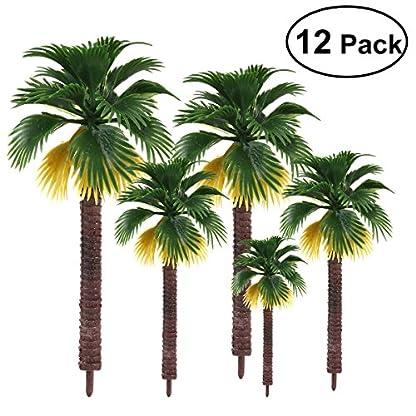 NUOLUX 12Pcs Modelo de árboles, Tren de plástico Palmera para Mini Paisaje paisajístico, 8 cm 10 cm 13 cm 16 cm