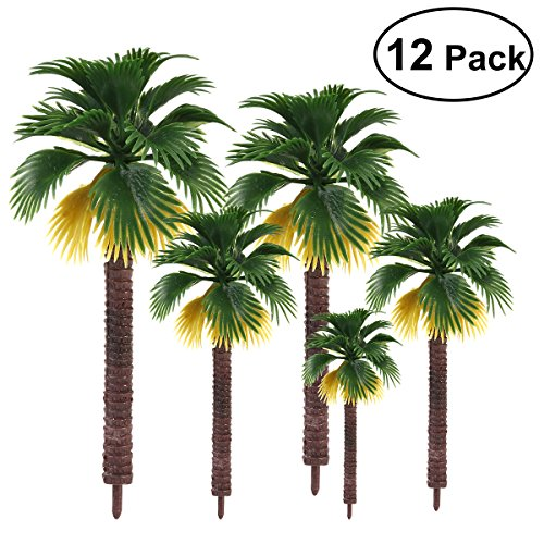 NUOLUX 12 Stücke Modell Bäume, Kunststoff Zug Palme für Mini Landschaft Landschaftsgestaltung, 8 cm 10 cm 13 cm 16 cm