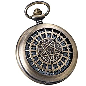 VIGOROSO Mens Pocket Watch Black Butler Antique Hollow Quartz Bronze Steampunk in Box