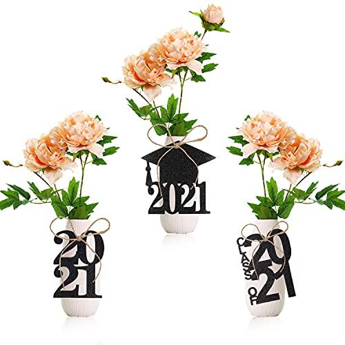 Kederwa 24PCS Graduation Cutouts Black, 2021 Graduation Favor Tags for Graduation Table Centerpieces Party Decorations