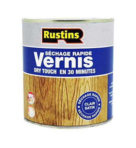 Rustins AVMC500 (QD Clear Satin Varnish) - Vernis pour bois - séchage rapide - Incolore - Clair Satiné 500ml