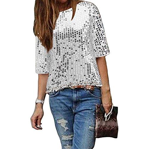 IHRKleid Damen Bluse Frauen Strapless Pailletten beiläufige lose T-Shirt Tops Langarm Weg von der Schulter Hemd Bluse (XXXL, Silber)