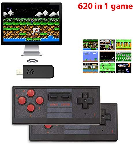 New World Old Arcade Classic Retro Game Console, 8 BIt TV AV Output Interface Game Console, plug & play wireless video game for kids for 2 Players Built in 620 Games