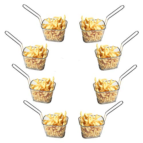 Huajian - Cesta para mini patatas fritas, cromada, diseño c