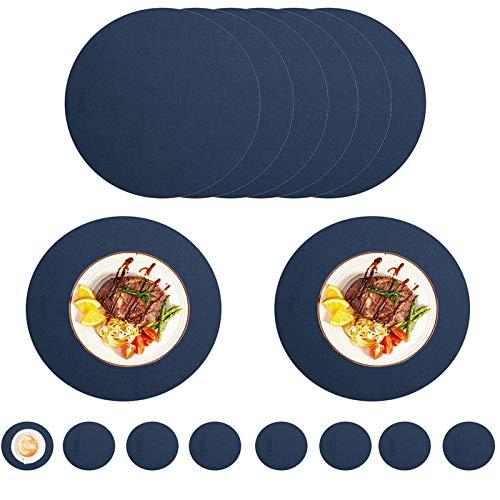 Juego De 8 Manteles Individuales Azules Redondos Impermeables 8 Manteles Individuales Y 8 Posavasos PU De Cuero Sintético Antideslizantes Para Mesa De Comedor Para El Hogar Cocina Restaurante