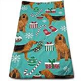 MJDIY Toallas De Mano,Bloodhound Fabric Y Navidad Coloridas Y Hermosas Toallas De Playa para Adultos para El Deporte Gym Running