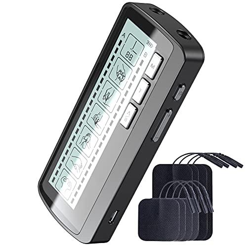 HLY Electroestimulador Digital para Aliviar Dolores Musculares y Fortalecer los Músculos, Masaje, EMS, TENS, 2 Canales,6 Modos 20 Niveles de intensidad 8 Electrodos Autoadhesivos