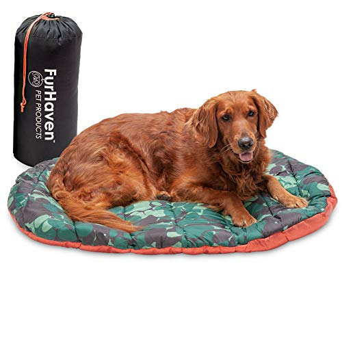Furhaven Pet Dog Bed - Trail Pup Packable Outdoor Travel Pet Camping Pillow Bed Stuff Sack with Bag for Dogs and Cats, Paprika and Camo-Paw, Large